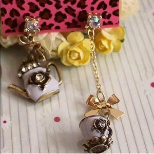 NWT Betsey Johnson Bow, Cup, & TeaPot Earrings